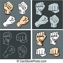 puños, illustration., set., -, vector, acción