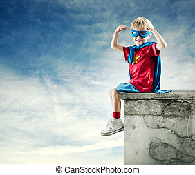 puños, niño, levantado, héroe, súper
