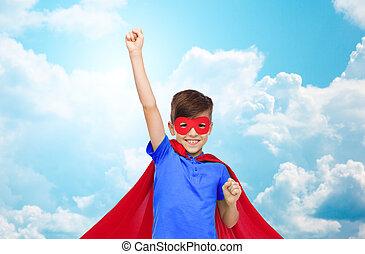 puños, niño, superhero, actuación, máscara, capa, rojo