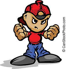 puños, pelota, actuación, gorra, punk, vector, atrás, caricatura, niño