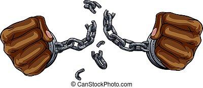 puños, rotura, diseño, libertad, grilletes, manos, cadena