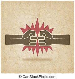 puños, viejo, símbolo, puñetazo, pelea, plano de fondo
