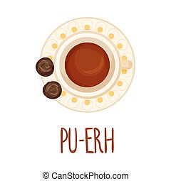 Pu-erh Tea Vector Illustration View From Above