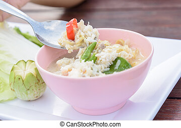 pu), (lhon, guisado, carangueijo, servido, vegetal, fresco