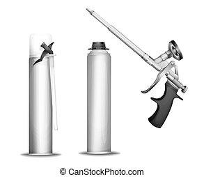pu, mockup, espuma, arma, ilustração, isolado, realístico,...