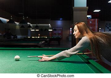 pub, ビリヤード, 女の子, プレーする, 暗い, 光景, 側