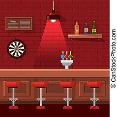 pub, 空, 生活, 腰掛け, テーブル, バー, 夜