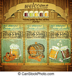 Pub Beer Menu in Retro Vintage Grunge Style, Set of Labels...