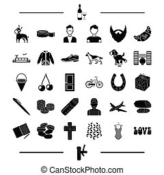 pub, clothing, alcohol and other web icon in black style. animal, transport, appearance icons in set collection.