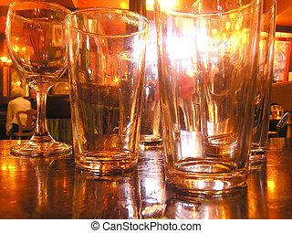 Pub - Empty glasses in a pub
