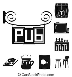 Pub, interior and equipment black icons in set collection for design. Alcohol and food bitmap symbol stock web illustration.