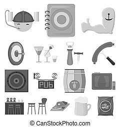 Pub, interior and equipment monochrome icons in set collection for design. Alcohol and food bitmap symbol stock web illustration.