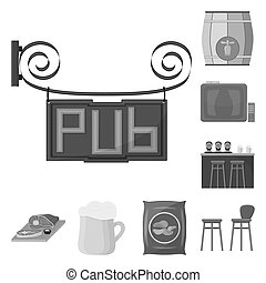 Pub, interior and equipment monochrome icons in set collection for design. Alcohol and food symbol stock web illustration.