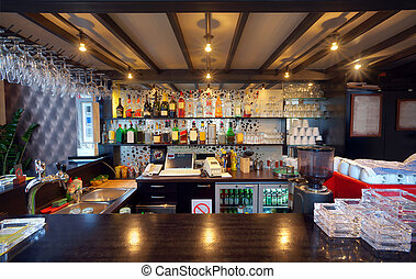 View of the bar in a pub.