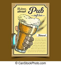 Pub Natural Craft Beer Advertising Poster Vector