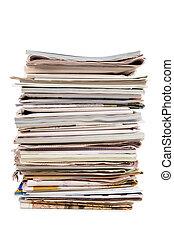 pubblicazione periodica, giornali, vecchio, pila