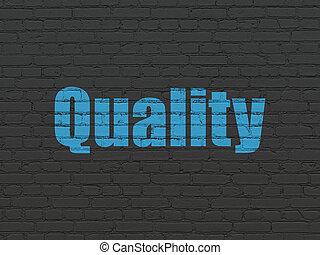 pubblicità, concept:, qualità, su, parete, fondo