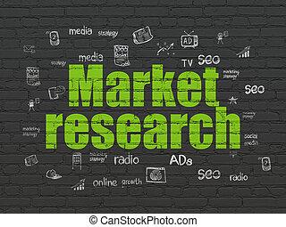 pubblicità, concept:, ricerca mercato, su, parete, fondo