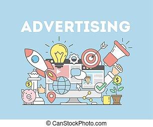 pubblicità, concetto, illustration.