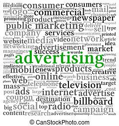 pubblicità, concetto, in, parola, etichetta, nuvola