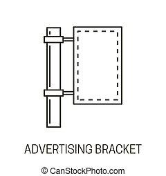 pubblicità, icona, colonna, bandiera, contorno, parentesi, isolato