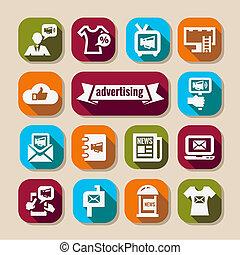 pubblicità, lungo, ombre, icone, set