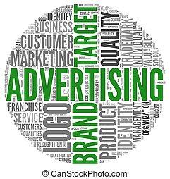 pubblicità, relativo, parole, in, etichetta, nuvola