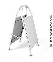 pubblicità, rendering., promozionale, fondo., stare in piedi, vuoto, bianco, construction., 3d