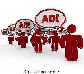 pubblicità, sovraccarico, -, molti, venditori, dire, annuncio, in, discorso, nubi