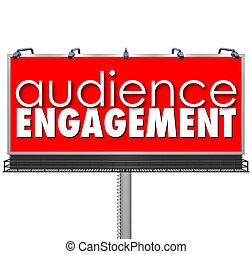pubblico, engagment, tabellone, pubblicità, clienti, outreach