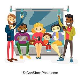 pubblico, multicultural, viaggiare, trasporto, persone