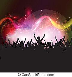 pubblico, su, note musica, fondo