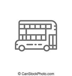 pubblico, tradizionale, londra, autobus, icon., double-decker, linea, trasporto