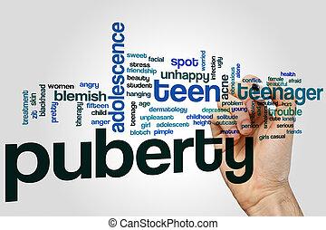 Puberty word cloud concept