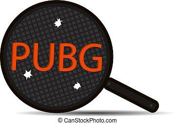 pubg, 銃弾, 3, イラスト, 有名, ゲーム, ベクトル, ビデオ, パン, 背景, 白, holes.