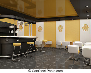 public architecture. dining room.Construction of a ceiling at Restaurant. bar with standinf chair and tables with armchairs in modern interior. Decorative ornament of the wall