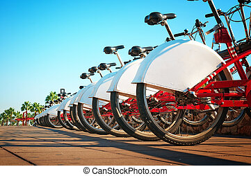 Public bicycle rental  in Barcelona.