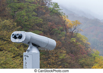 Public Binoculars Machine at Akechidaira Ropeway in autumn season ,Nikko in Japan