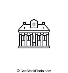 Public building linear icon concept. Public building line vector sign, symbol, illustration.