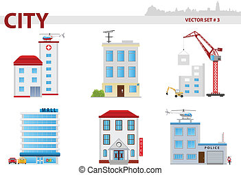 Public building. Set 3 - Public building cartoon. Set 3. ...