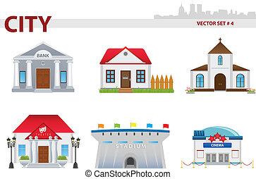 Public building cartoon. Set 4. Bank, house, church, theatre, stadium, cinema