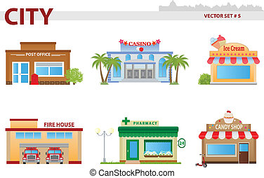Public building cartoon. Set 5. Post office, casino, icecream shop, fire house, drugstore, candy shop