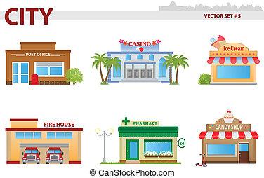 Public building. Set 5 - Public building cartoon. Set 5....