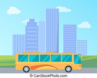 Public Bus in City Colorful Vector Illustration