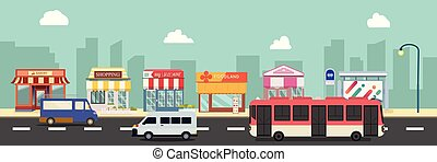 public, business, style rue, illustration, storefront, vecteur, plat, design., ville bâtiments, arrêt, urbain, autobus, minibus, .public, principal, magasin, cars.