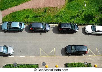Public car parking, residential area