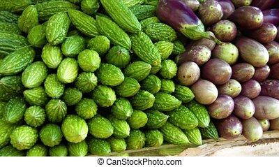 public, charge, légumes, marché frais