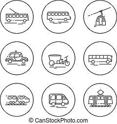 Public city transport. Flat llinear vector icons.