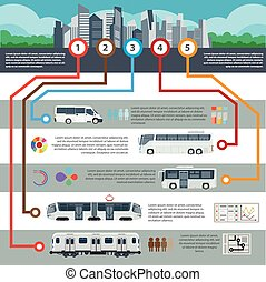 Public city transport passenger infographics flat template -...