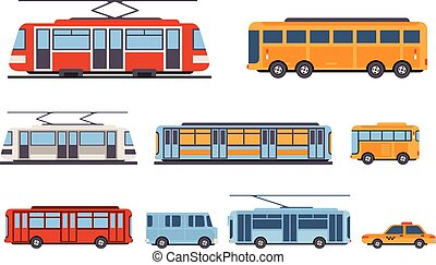 Public city transport set, taxi, bus, subway, tram vector Illustrations on a white background
